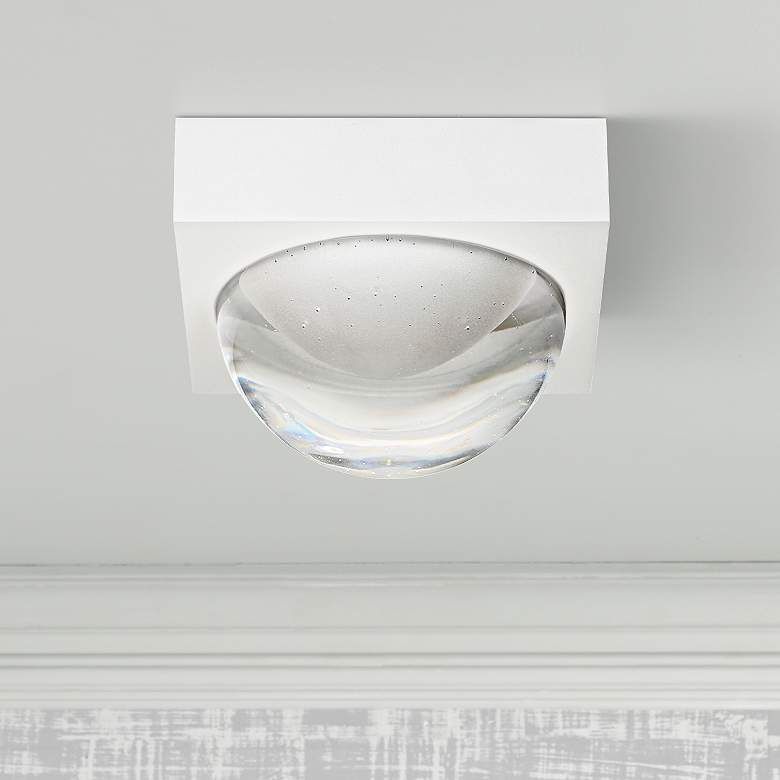 "LBL Sphere 4 3/4""W Rubberized White Clear LED Ceiling Light"