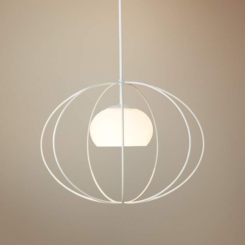 "Hubbardton Forge Cadence 20""W Opal Glass Pendant Light"