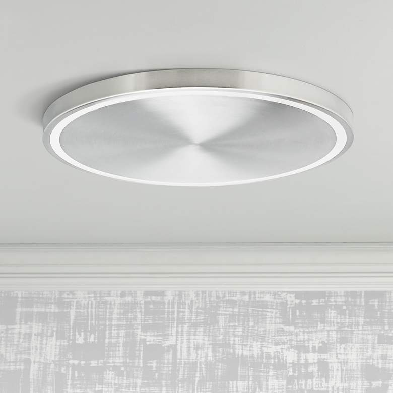 "Crest 20"" Wide Satin Nickel LED Ceiling Light"