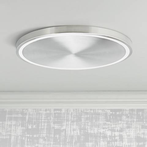 "LBL Crest 20"" Wide Satin Nickel LED Ceiling Light"