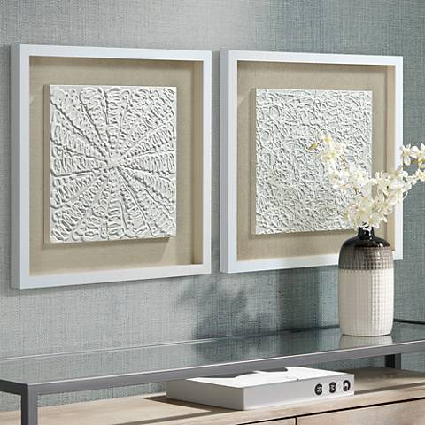 "White Out 23 3/4"" Square Framed Wall Art Set of 2"