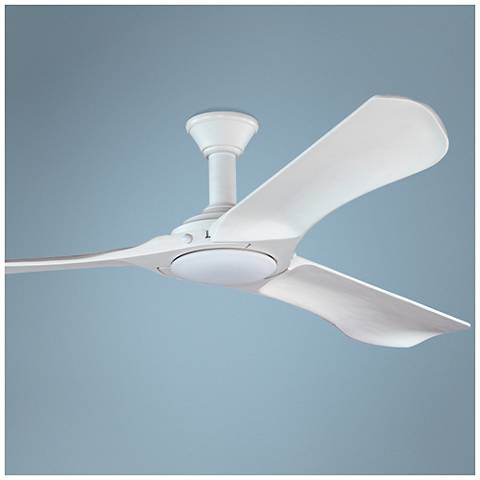 "72"" Minimalist Max Rubberized White LED Damp DC Ceiling Fan"