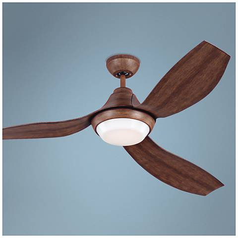 "56"" Monte Carlo Avvo Koa LED Damp DC Ceiling Fan"
