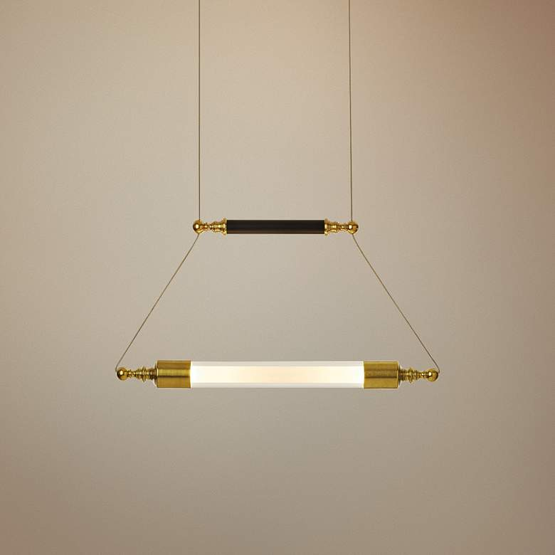 "Otto 19"" Wide Brass with Black Horizontal Pendant"