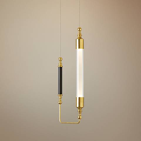 "Otto 10 1/2"" Wide Brass with Black Vertical Mini Pendant"