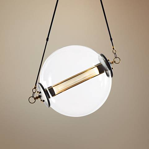 "Otto 28 1/2"" Wide Brass with Black Pendant Light"