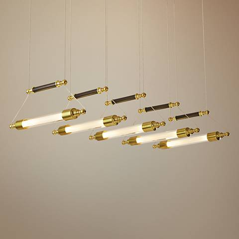 "Otto 39 1/2"" Wide Brass with Black Island Pendant"