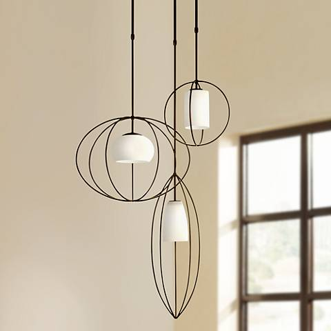 "Treble 25 1/2"" Wide Dark Smoke Multi Light Pendant"