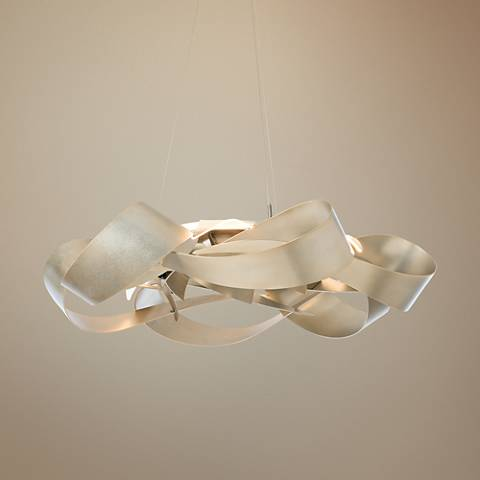 "Hubbardton Forge Flux 39 1/2""W Soft Gold LED Pendant Light"
