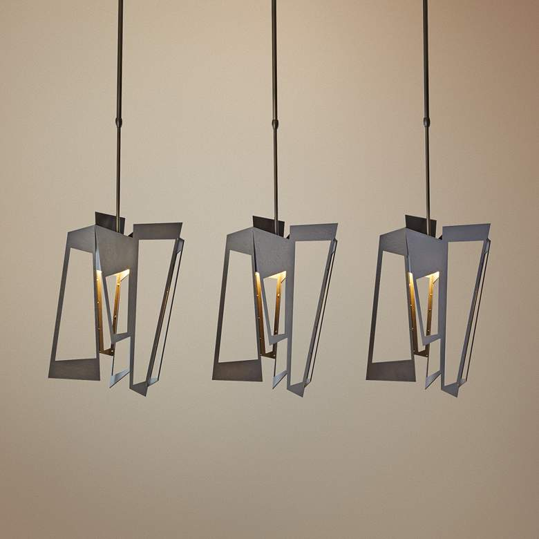 "Hubbardton Forge Triptic 45""W Dark Smoke Multi Light"