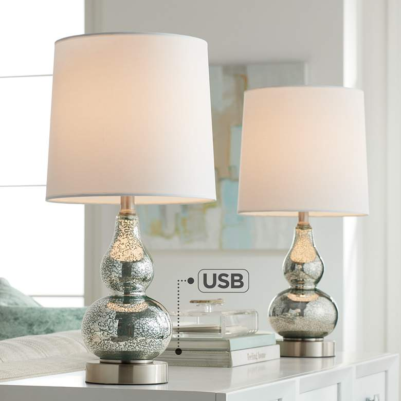 Castine Turquoise Mercury Glass USB Table Lamps Set of 2