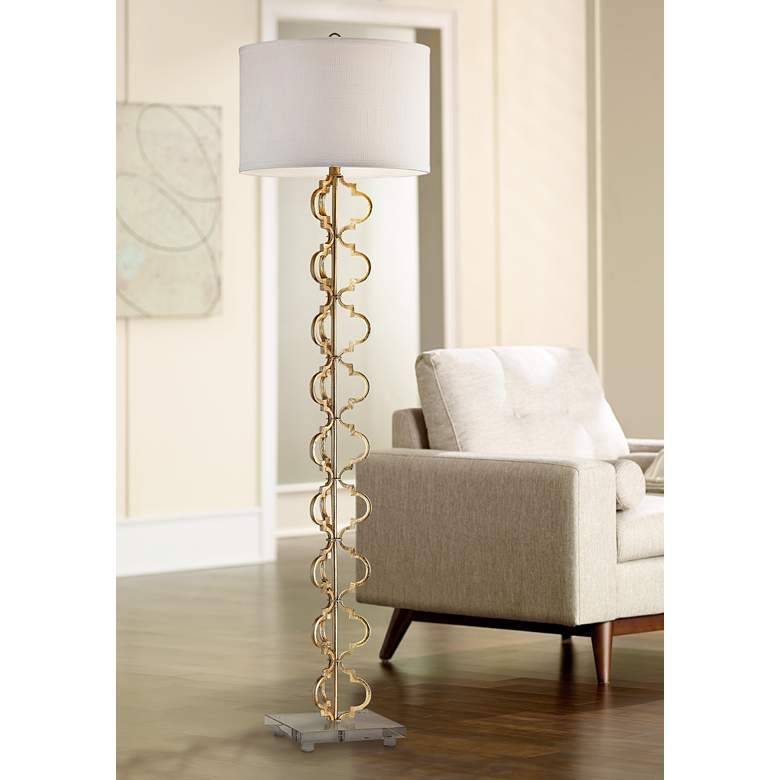 "Castile 62"" High Gold Leaf Metal Floor Lamp"