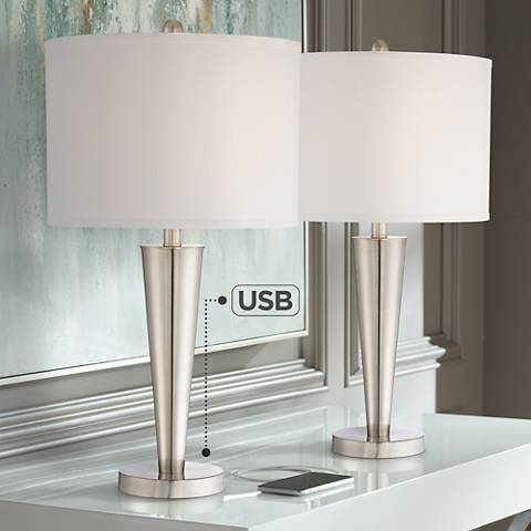 Geoff Brushed Steel USB Table Lamp Set of 2