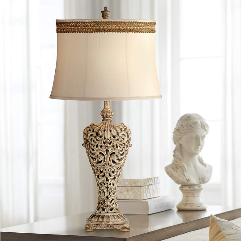 Elle Gold Table Lamp with Florentine Scroll Trim