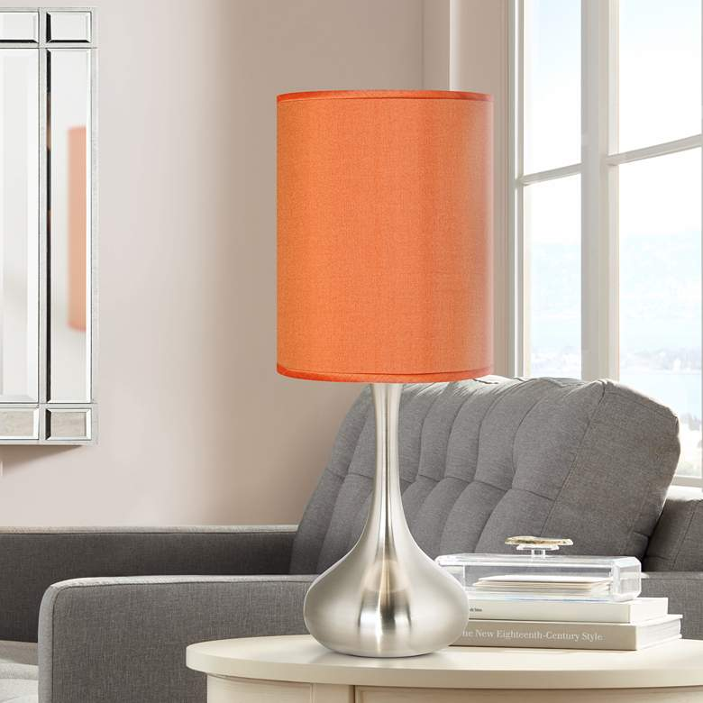 "Orange Faux Silk 23 1/2"" High Droplet Table Lamp"