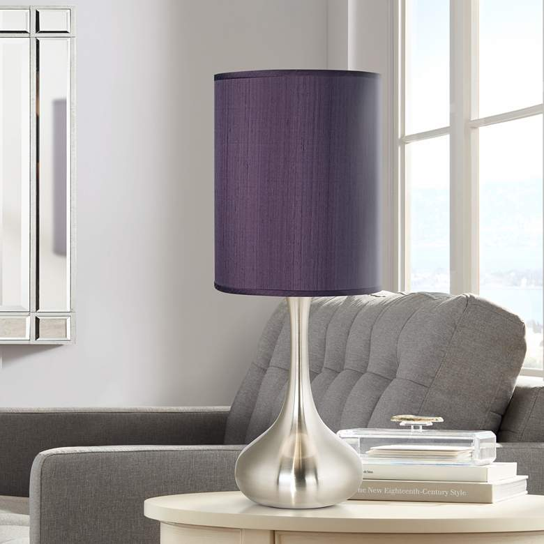 Eggplant Polyester Brushed Nickel Droplet Table Lamp