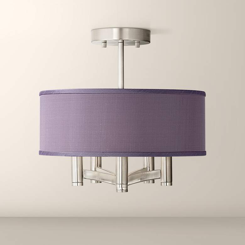 Eggplant Faux Silk Ava 5-Light Nickel Ceiling Light