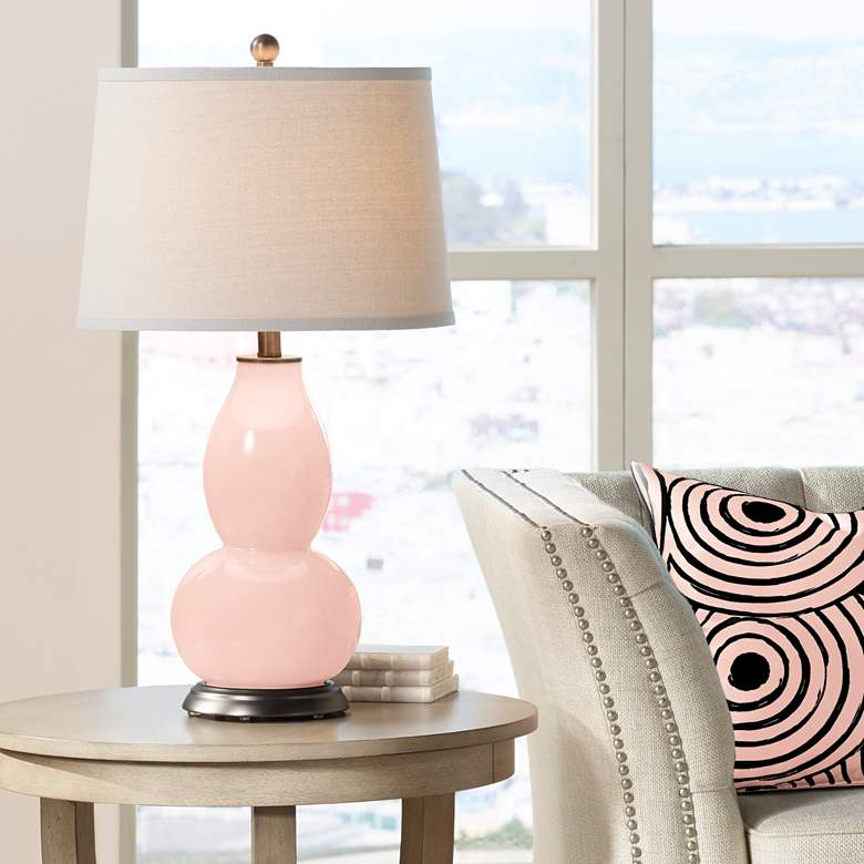 Rose Pink Double Gourd Table Lamp