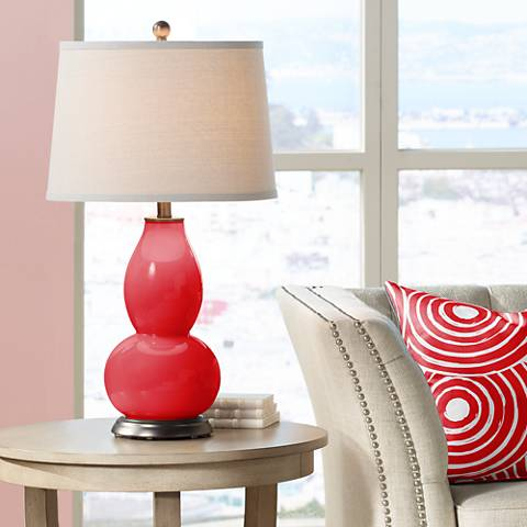Bright Red Double Gourd Table Lamp