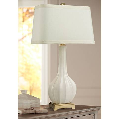 Garrett Fluted White and Antique Brass Ceramic Table Lamp