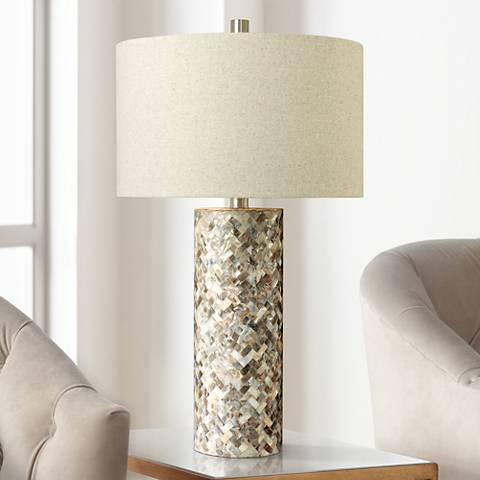 Keller Herringbone Mother of Pearl Shell Table Lamp