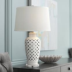 Kate Openwork Gloss White Ceramic Table Lamp