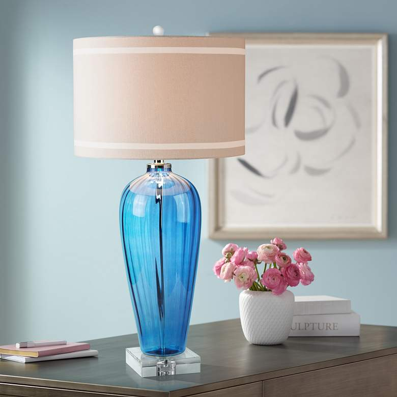 Tropical Sapphire Hot Spray Blue Glass Table Lamp