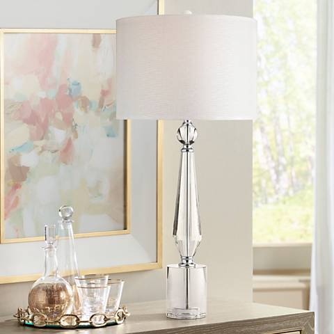 Batton Clear Crystal and Chrome Table Lamp