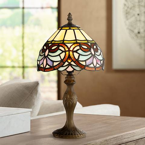 "Robert Louis Tiffany 13 1/2"" High Marie Art Glass Table Lamp"