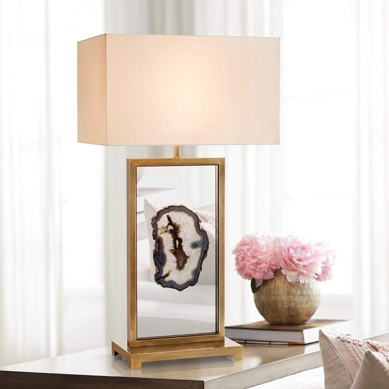 John Richard Floating Agate Antique Brass Table Lamp