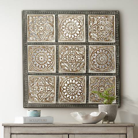 "Gray and White Squares 36"" Traditional Wood Wall Panel"