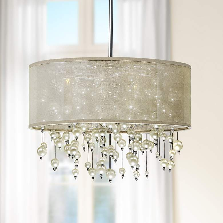 "Champagne 18"" Wide Beaded Polished Chrome Pendant Light"