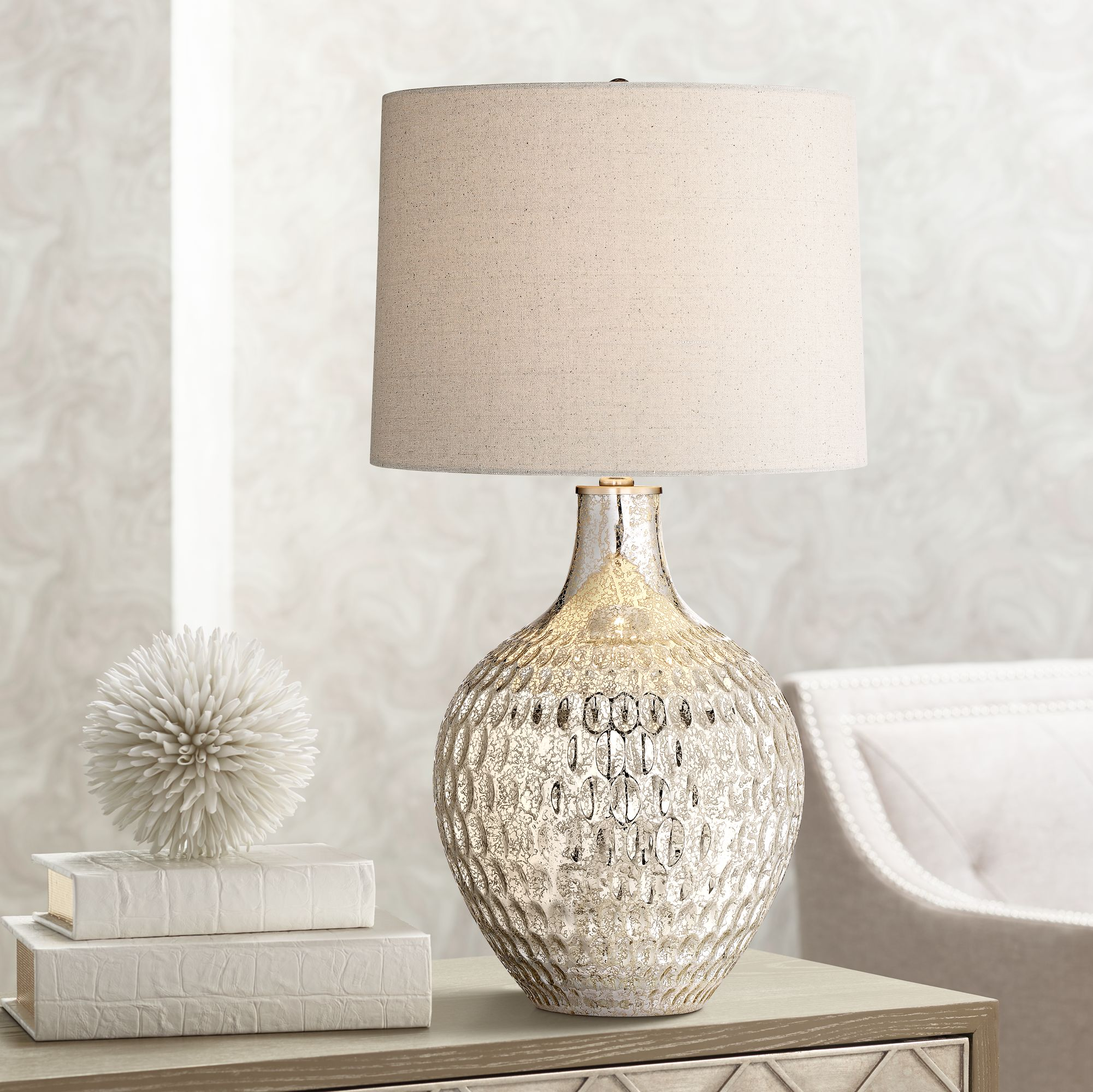 Charming Waylon Mercury Glass Table Lamp