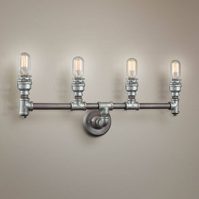 "Cast Iron Pipe 28"" Wide Weathered Zinc 4-Light Bath Light"