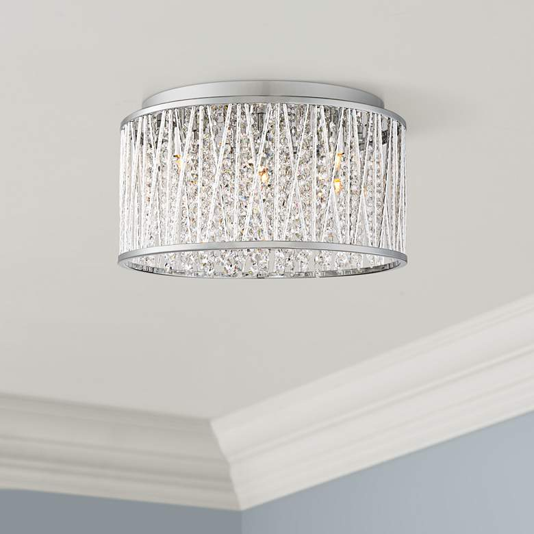 "Possini Woven Laser Cut 16"" Wide Chrome Ceiling Light"