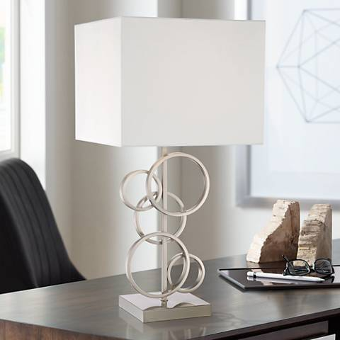 Saul Brushed Steel Rings Table Lamp by 360 Lighting
