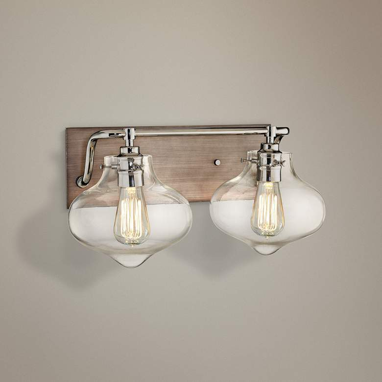 "Kelsey 17""W Weathered Zinc and Polished Nickel Bath Light"