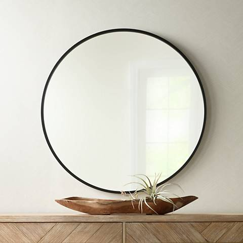 Mayfair Matte Black 34 Round Wall Mirror