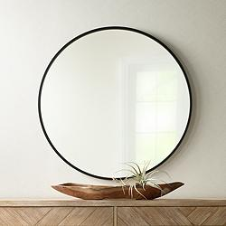 "Uttermost Mayfair Matte Black 34"" Round Wall Mirror"