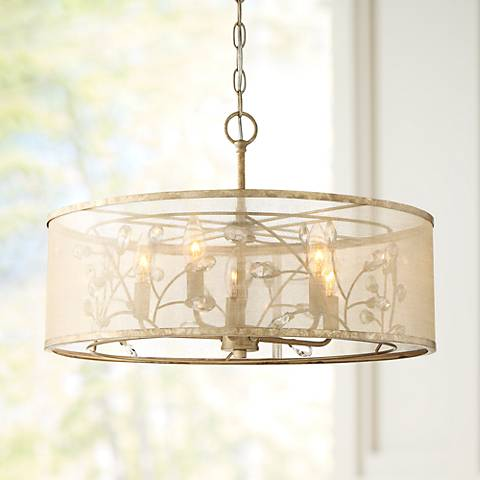 "Sara's Jewel 21"" Wide Champagne Convertible Pendant Light"