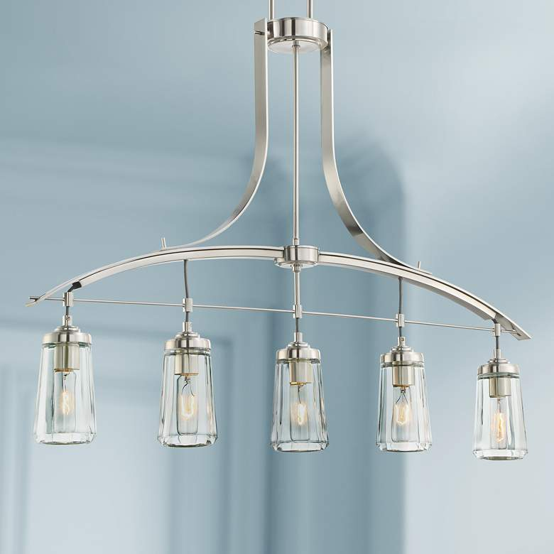 "Poleis 39"" Wide Brushed Nickel 5-Light Island Chandelier"