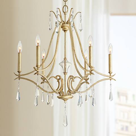 "Laurel Estate 26 3/4"" Wide Brio Gold 6-Light Chandelier"