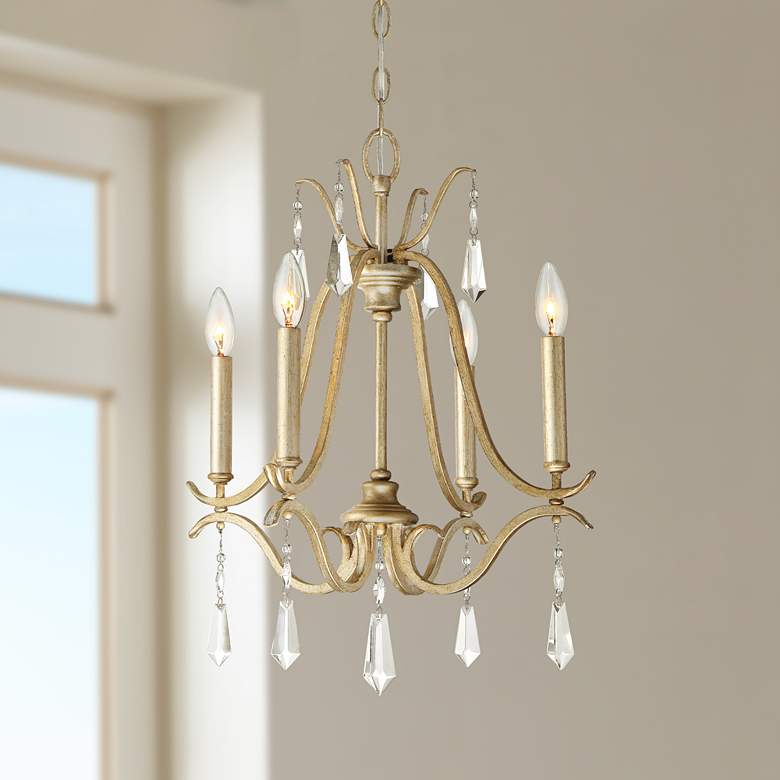 "Laurel Estate 18"" Wide Brio Gold 4-Light Mini Chandelier"