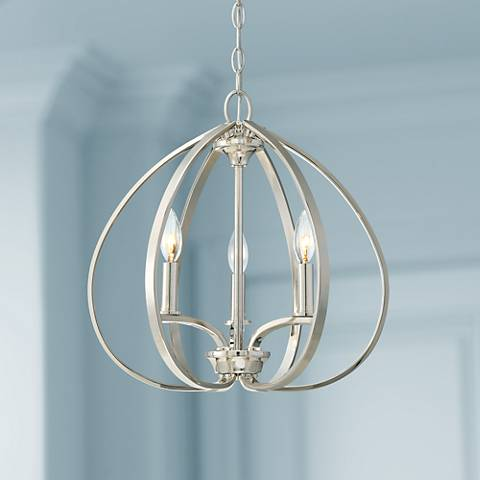 "Tilbury 16 1/2"" Wide Polished Nickel 3-Light Foyer Pendant"