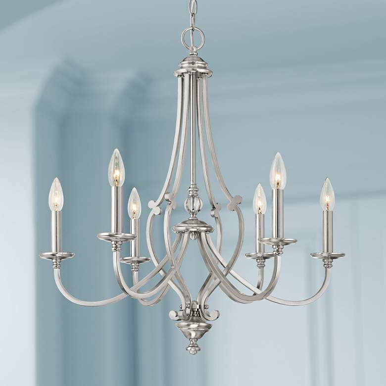 "Savannah Row 26""W Brushed Nickel 6-Light Chandelier"