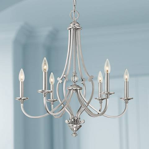 Savannah Row 26 Quot W Brushed Nickel 6 Light Chandelier