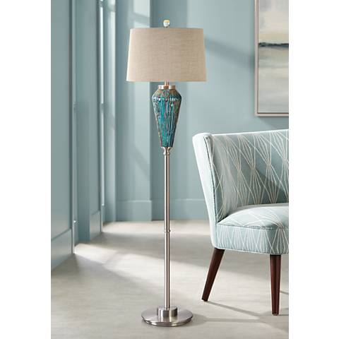 Uttermost Almanzora Plated Brushed Nickel Floor Lamp