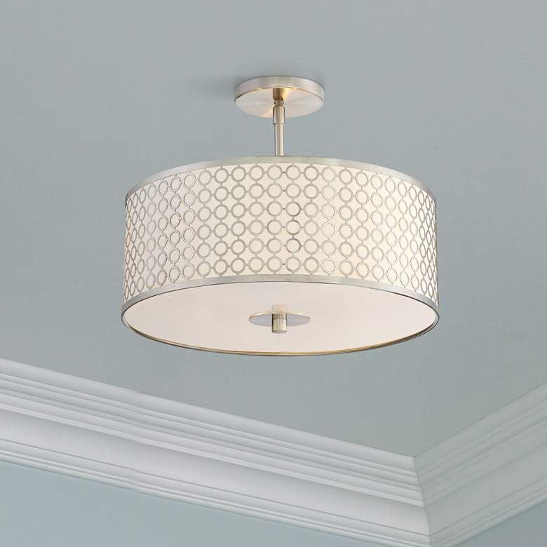 "George Kovacs Dots 3-Light 16"" Wide Nickel Ceiling"