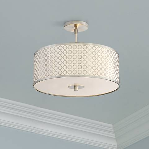 "George Kovacs Dots 3-Light 16"" Wide Nickel Ceiling Light"