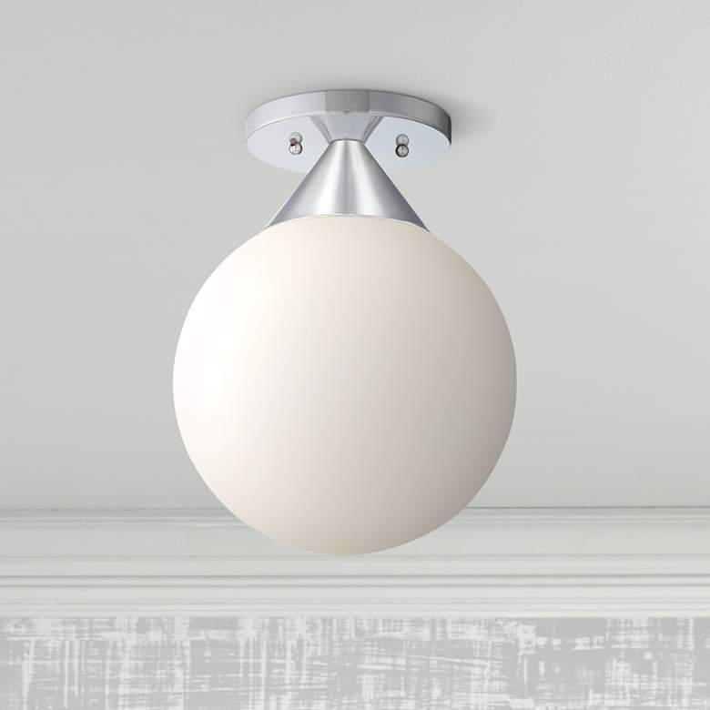 "George Kovacs Simple Chrome 9"" Wide Globe Ceiling Light"